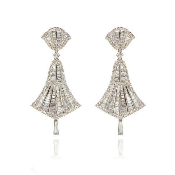 Flamenco 18ct White Gold 4.12 ct Diamond Small Earrings | Annoushka jewelley