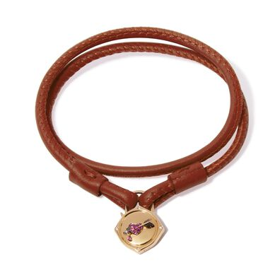 Lovelock 18ct Gold 35cms Brown Leather Heart & Arrow Charm Bracelet