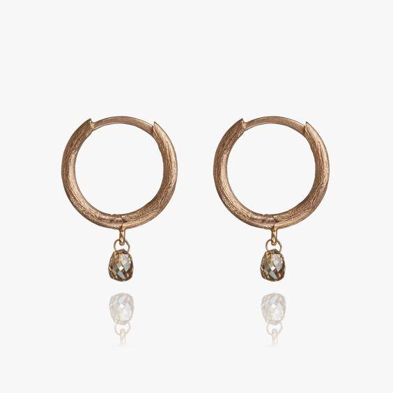 Hoopla 18ct Rose Gold Diamond Hoop Earrings