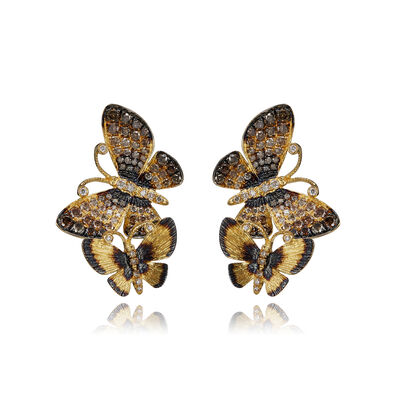 Butterflies 18ct Gold Diamond Duet Stud Earrings
