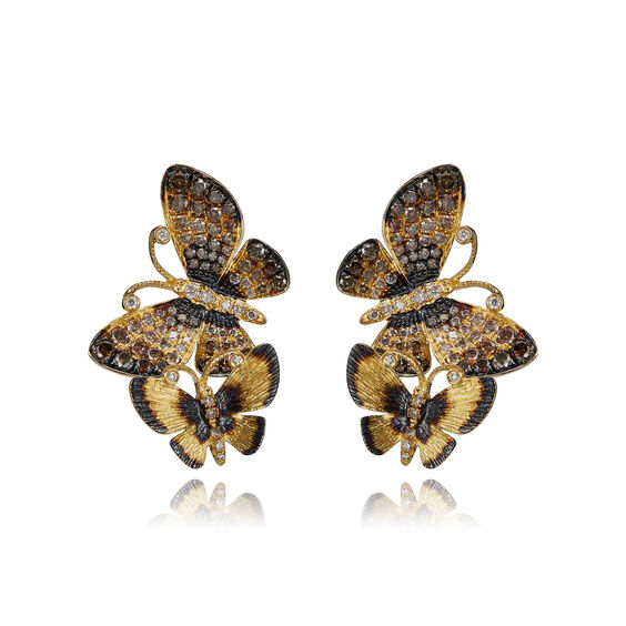 Butterflies 18ct Gold Diamond Duet Stud Earrings | Annoushka jewelley
