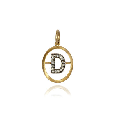 18ct Gold Diamond Initial D Pendant