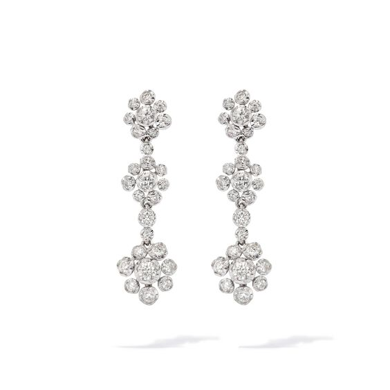 Marguerite 18ct White Gold Diamond Drop Earrings | Annoushka jewelley