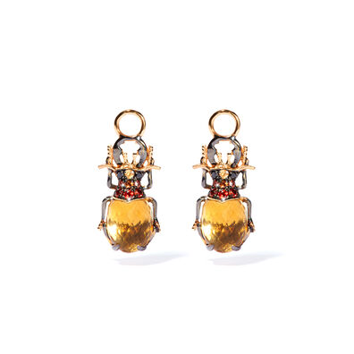 Mythology 18ct Gold Citrine Beetle Earring Drops