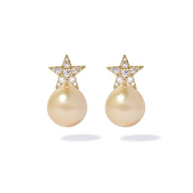 18ct Gold Diamond South Sea Pearl Star Earrings