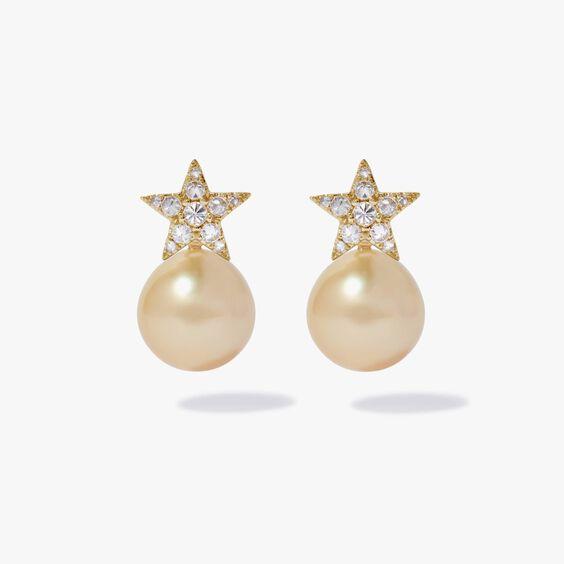 18ct Gold Diamond South Sea Pearl Star Earrings | Annoushka jewelley