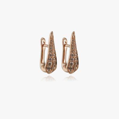 18ct Rose Gold Brown Diamond Hoop Earrings
