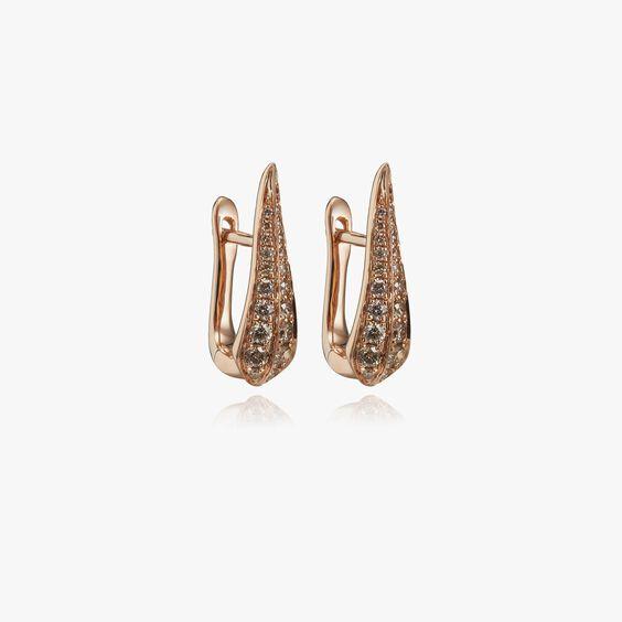 18ct Rose Gold Brown Diamond Hoop Earrings | Annoushka jewelley