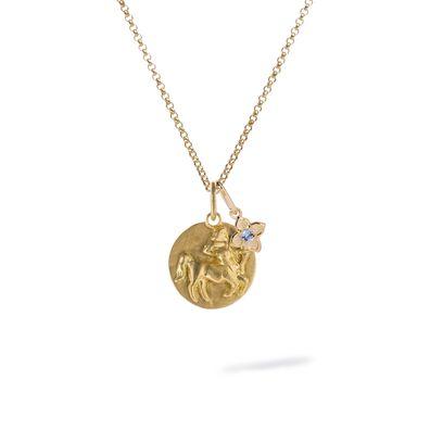 Gold Sagittarius & Tanzanite December Birthstone Necklace