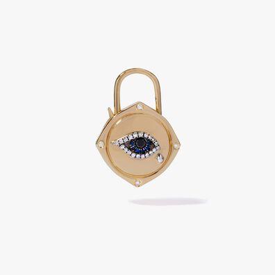 Lovelock 18ct Gold Sapphire Diamond Evil Eye Charm