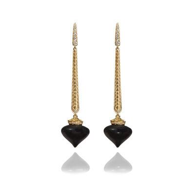 Touch Wood 18ct Gold Ebony Drop Earrings