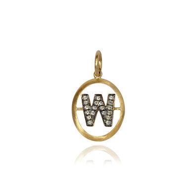 18ct Gold Diamond Initial W Pendant