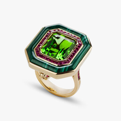 Unique 18ct Gold Radiance Peridot Pendant & Ring