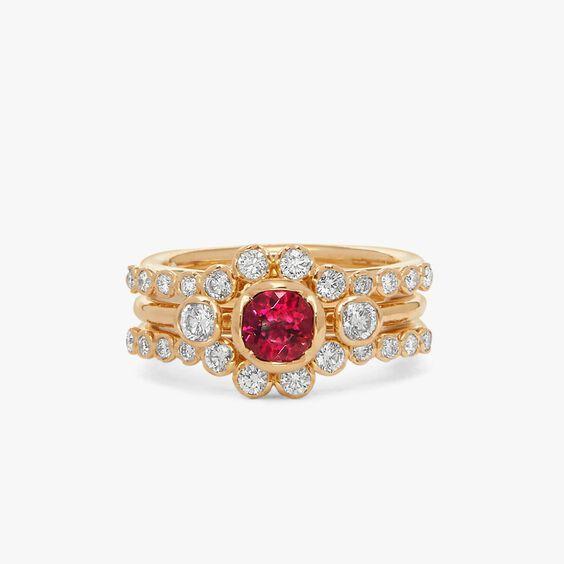 18ct Rubellite & Diamond Engagement Jacket Ring