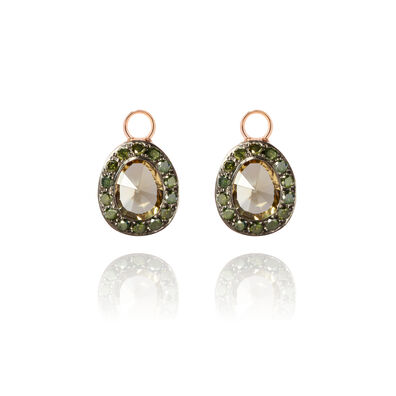 Dusty Diamonds 18ct Rose Gold Olive Quartz Earring Drops