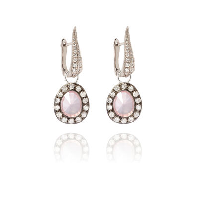 Dusty Diamonds 18ct White Gold Rose Quartz Earrings