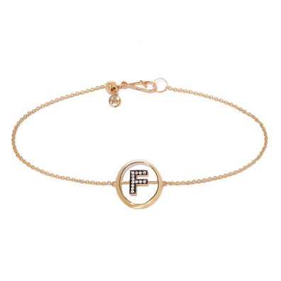 18ct Gold Diamond Initial F Bracelet