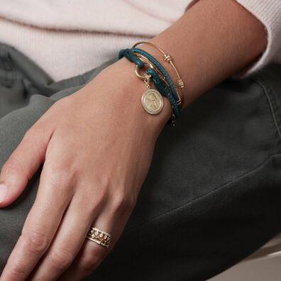 41cms Green Leather Bracelet