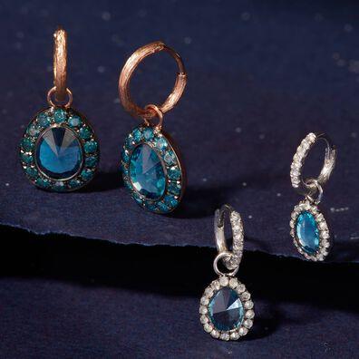 Dusty Diamonds 18ct White Gold Topaz Mini Earring Drops