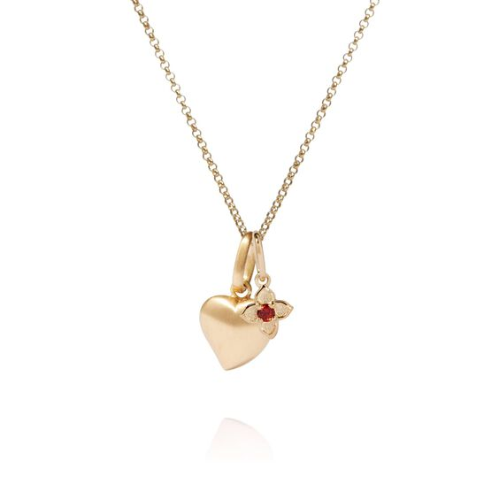 18ct Gold Heart And Garnet Tokens Necklace | Annoushka jewelley