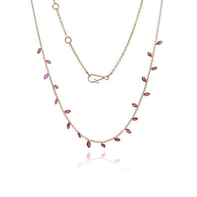 18ct Gold Ruby Vine Leaf Necklace