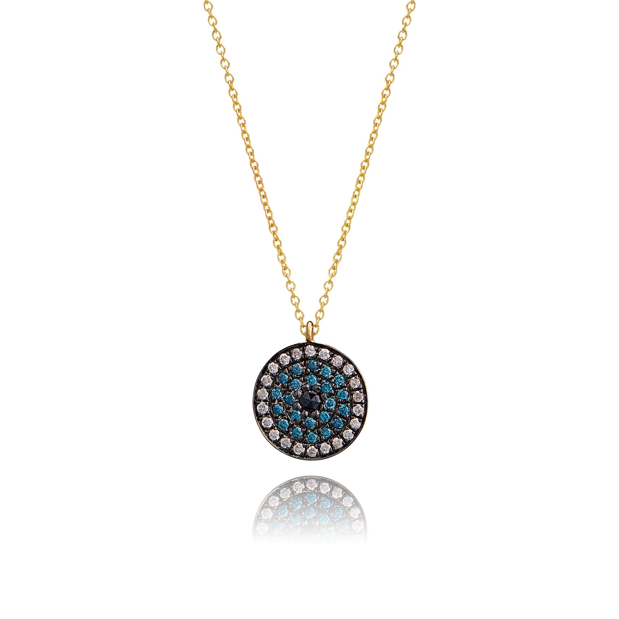 b86248cb48a9a Love Diamonds 18ct Gold Diamond Evil Eye Necklace