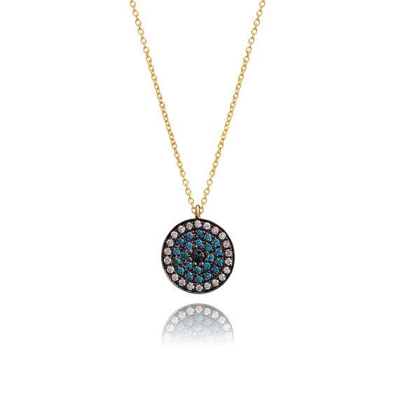 love diamonds 18ct gold diamond evil eye necklace. Black Bedroom Furniture Sets. Home Design Ideas