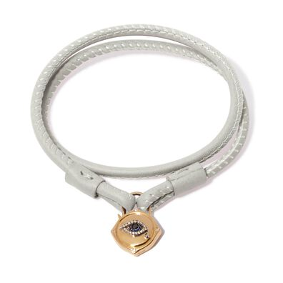 Lovelock 18ct Gold 35cms Cream Leather Evil Eye Charm Bracelet