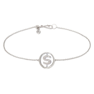18ct White Gold Diamond Initial S Bracelet