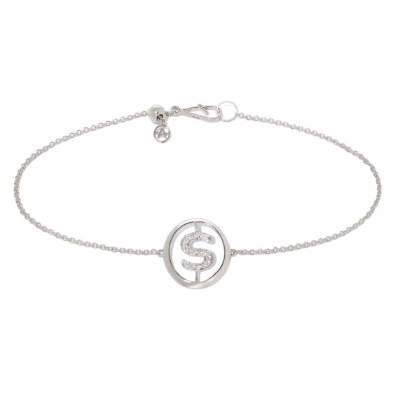 18ct White Gold Diamond Initial S Bracelet | Annoushka jewelley