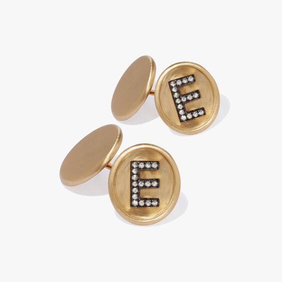 18ct Satin Gold Diamond Initial E Cufflinks