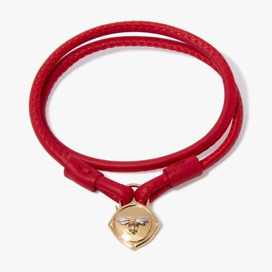 Lovelock 18ct Gold 35cms Red Leather Bee Charm Bracelet