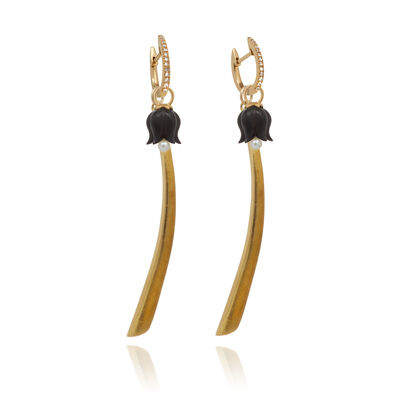 18ct Gold Diamond Palm & Tulip Earrings