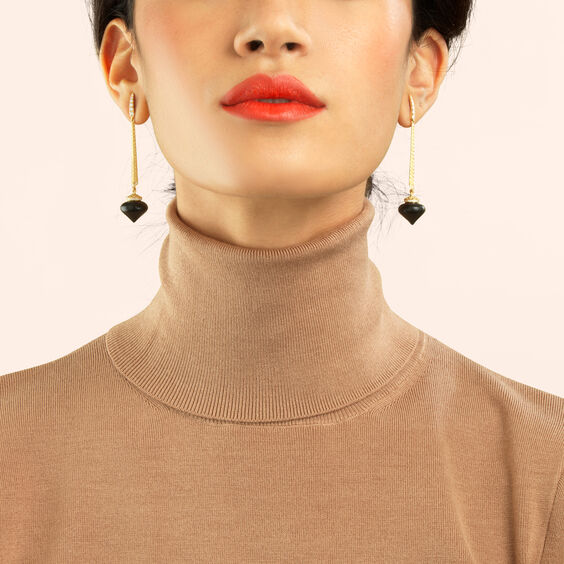 Touch Wood 18ct Gold Ebony Drop Earrings | Annoushka jewelley
