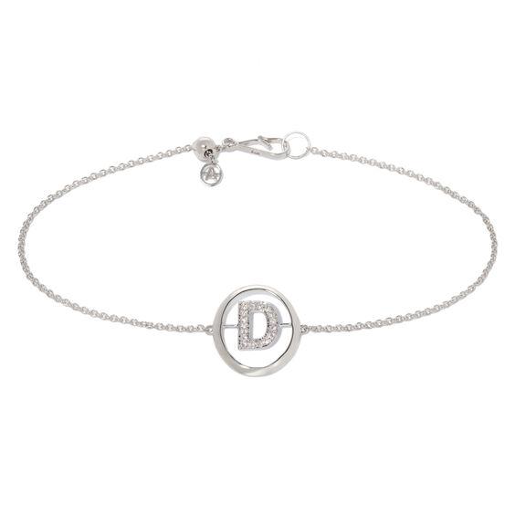 18ct White Gold Diamond Initial D Bracelet
