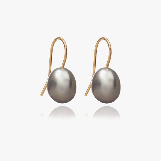 18ct Gold Baroque Grey Pearl Hook Drop Earrings   Annoushka jewelley