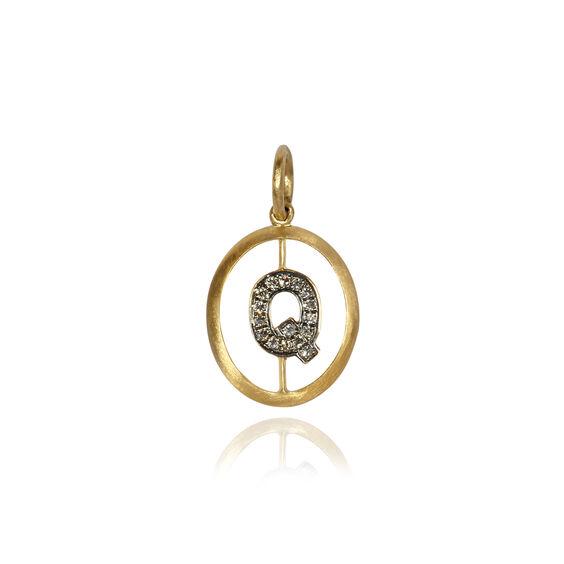 18ct Gold Diamond Initial Q Pendant | Annoushka jewelley