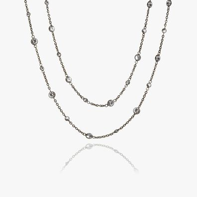 Nectar 18ct Rhodium Plated White Gold Sapphire Necklace