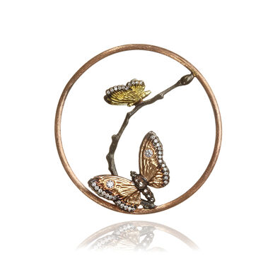18ct Rose Gold Diamond Butterfly Hoopla