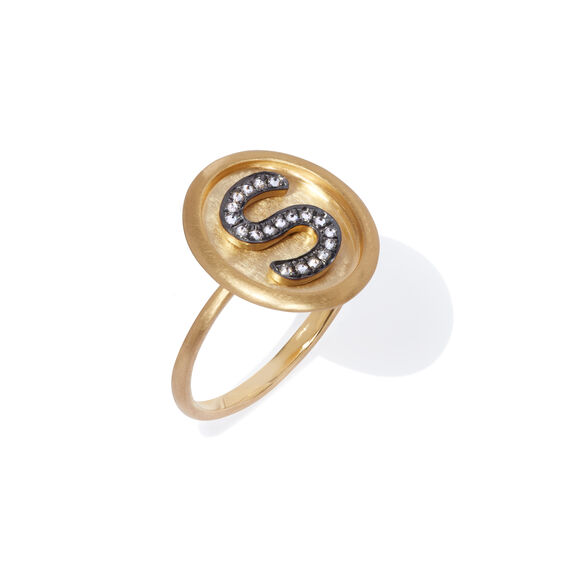 18ct Gold Diamond Initial S Ring | Annoushka jewelley