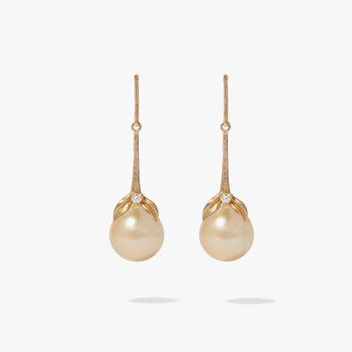 18ct Gold Tulip & South Sea Pearl Earrings
