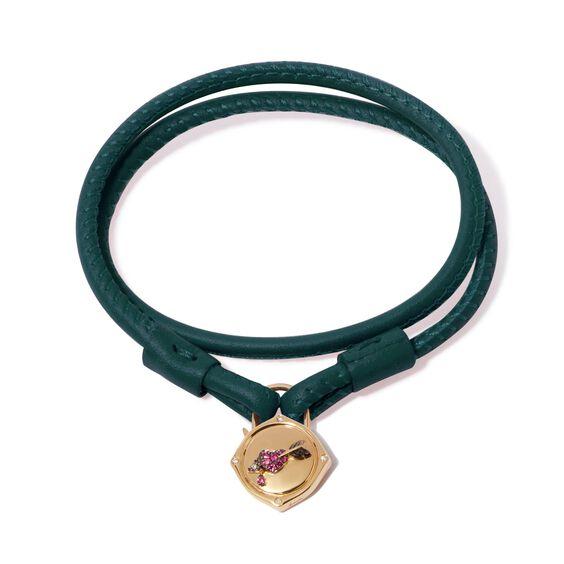 Lovelock 18ct Gold 35cms Green Leather Heart & Arrow Charm Bracelet | Annoushka jewelley