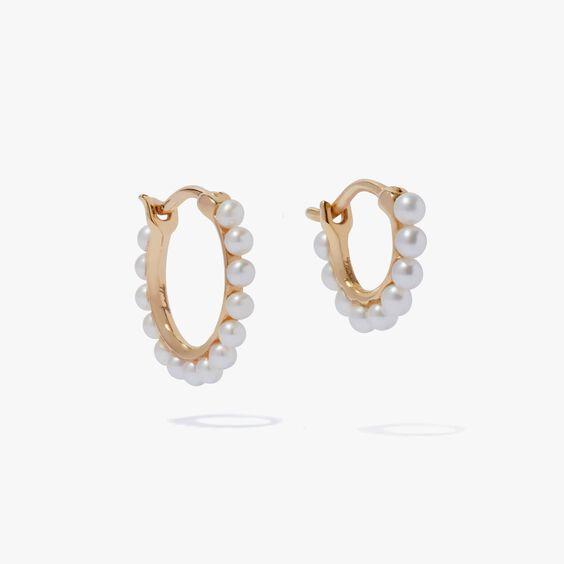 18ct Gold Pearl Hoop Earring Stack