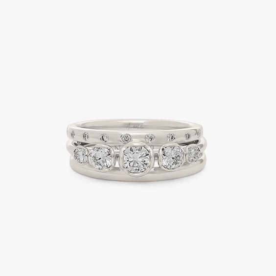 18ct White Gold Five Stone and 2mm Wedding Band Ring Stack