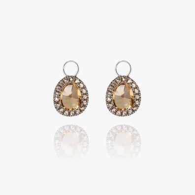 Dusty Diamonds 18ct White Gold Citrine Mini Earring Drops