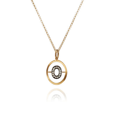 18ct Gold Diamond Initial O Necklace