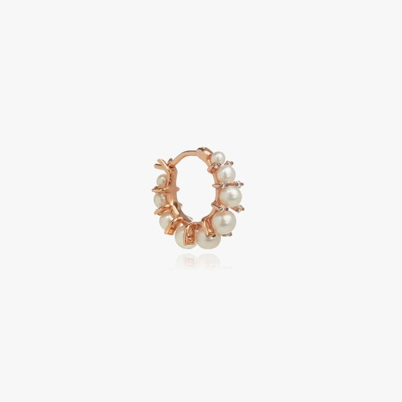 Diamonds & Pearls 18ct Rose Gold Single Hoop | Annoushka jewelley