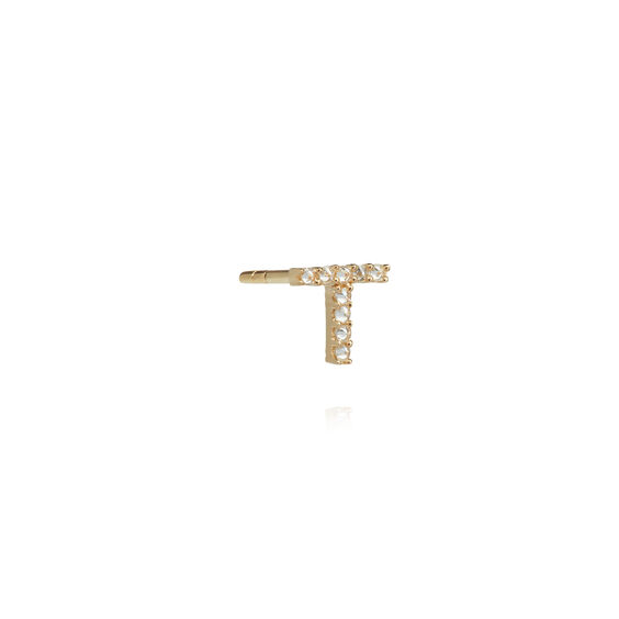 18ct Gold Diamond Initial T Single Stud Earring