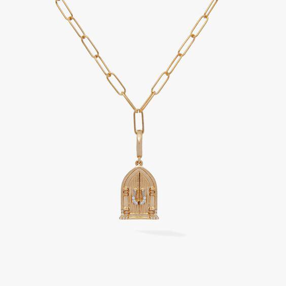 18ct Gold Church Doors Locket Charm Necklace