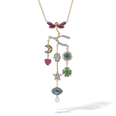 Love Diamonds 18ct Yellow Gold Diamond Chandelier Necklace